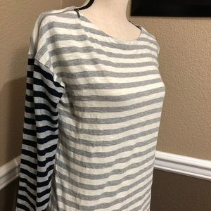 Talbots Striped Zippered Shoulder Long Sleeve top